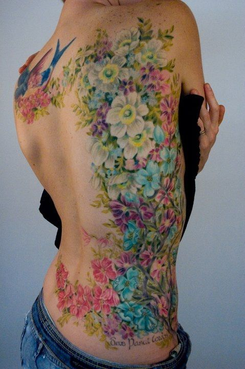 Garden of flowers tattoo