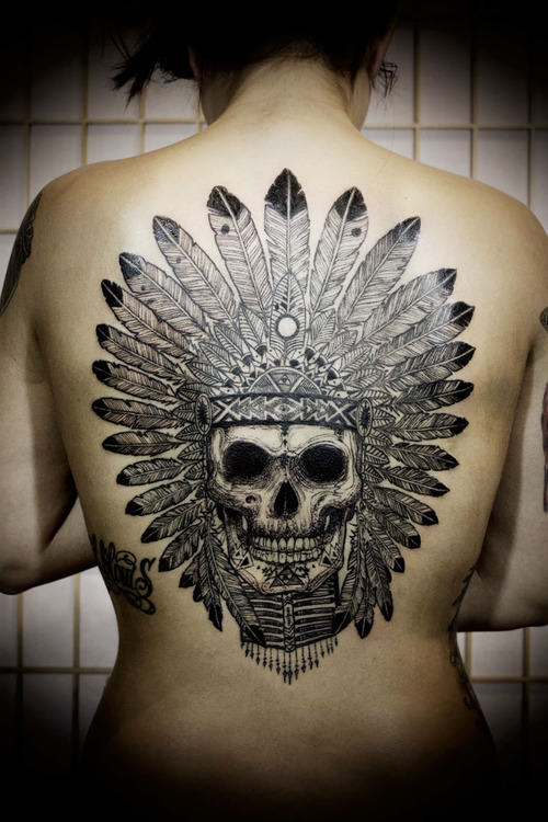 Native Skull Beautiful Tattoo On Back