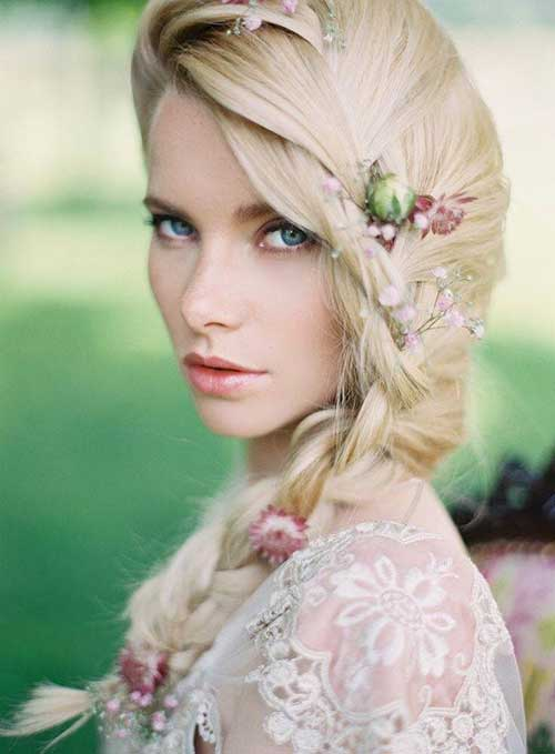 Nice Wedding Braid Hairstyle with Flowers