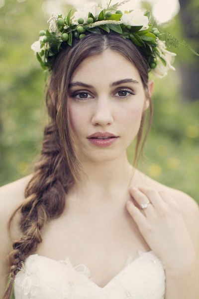 The Simple Wedding Hairstyle with a Braided Ponytail