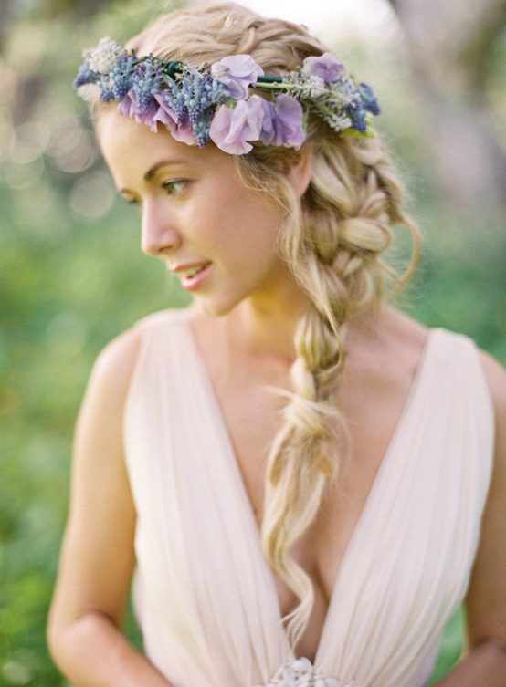 Tight Braid with Flowers Blunt Braid with Purple Flowers