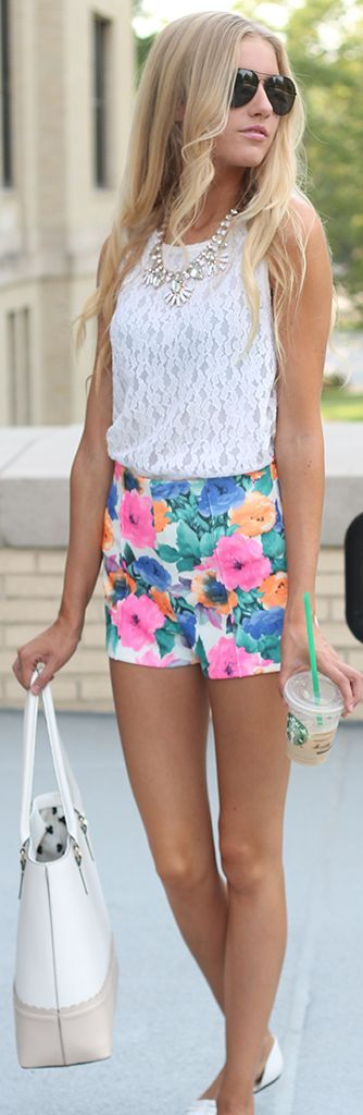 White stretch lace with floral shorts