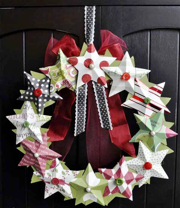 3D-paper-star-wreath