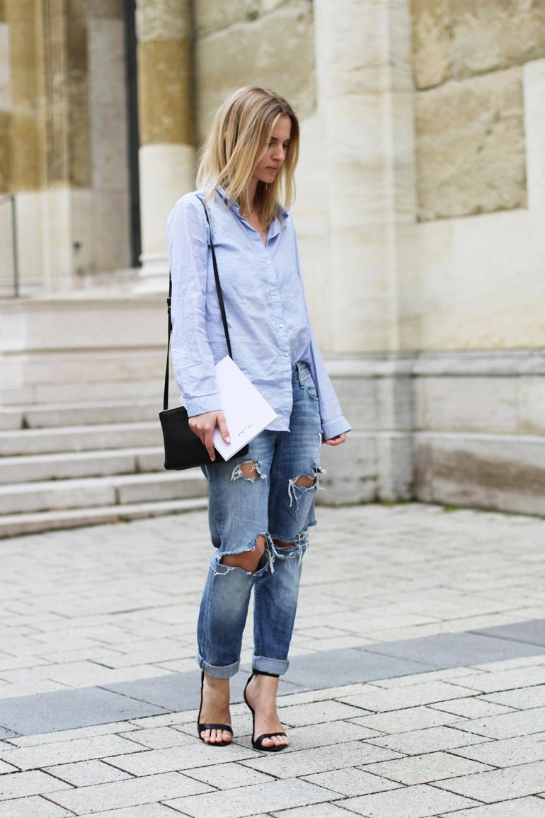 Blue Shirt And Ripped Jeans