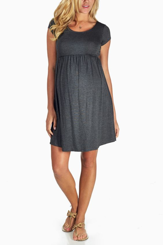 Charcoal-Grey-Basic-Maternity-Dress
