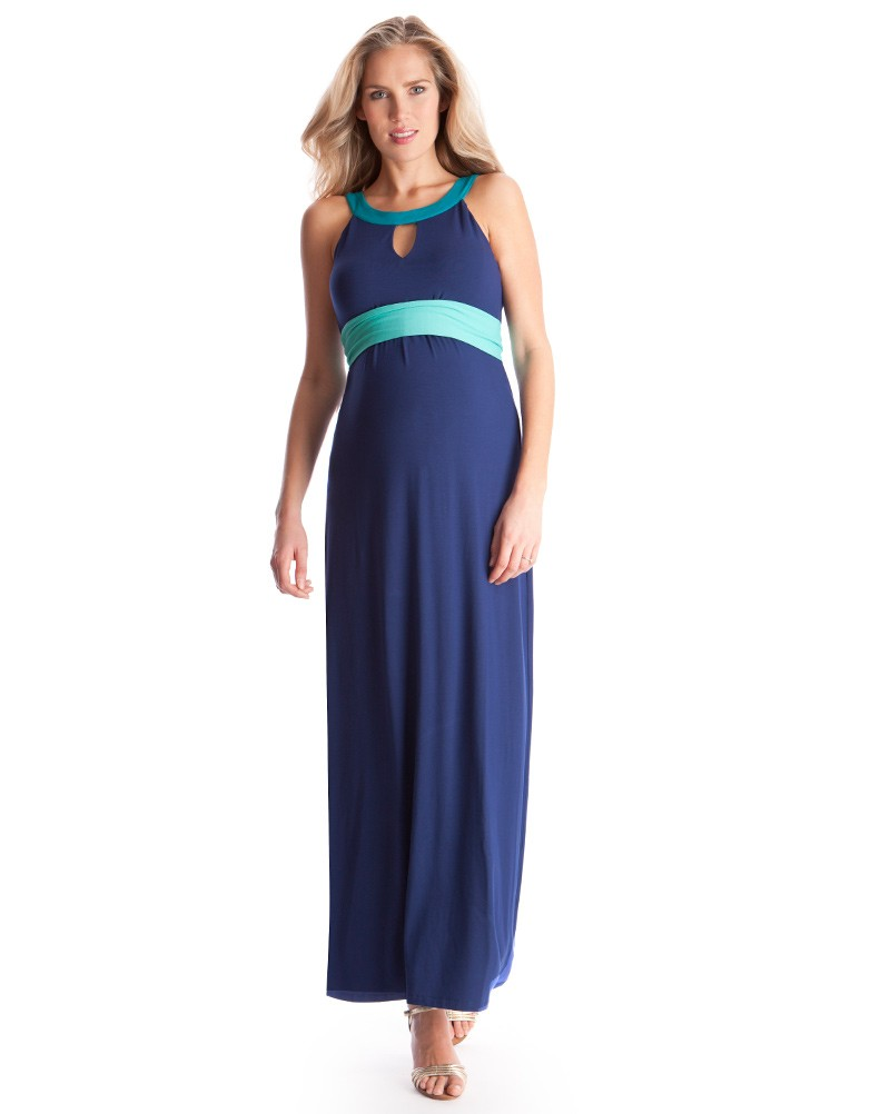 Colour Block Maternity Maxi Dress