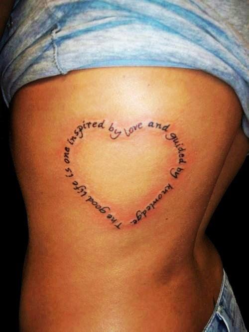 Cute heart rib tattoo