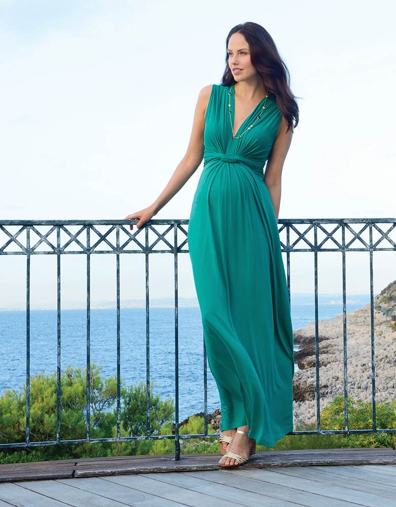 Emerald maternity maxi dress style