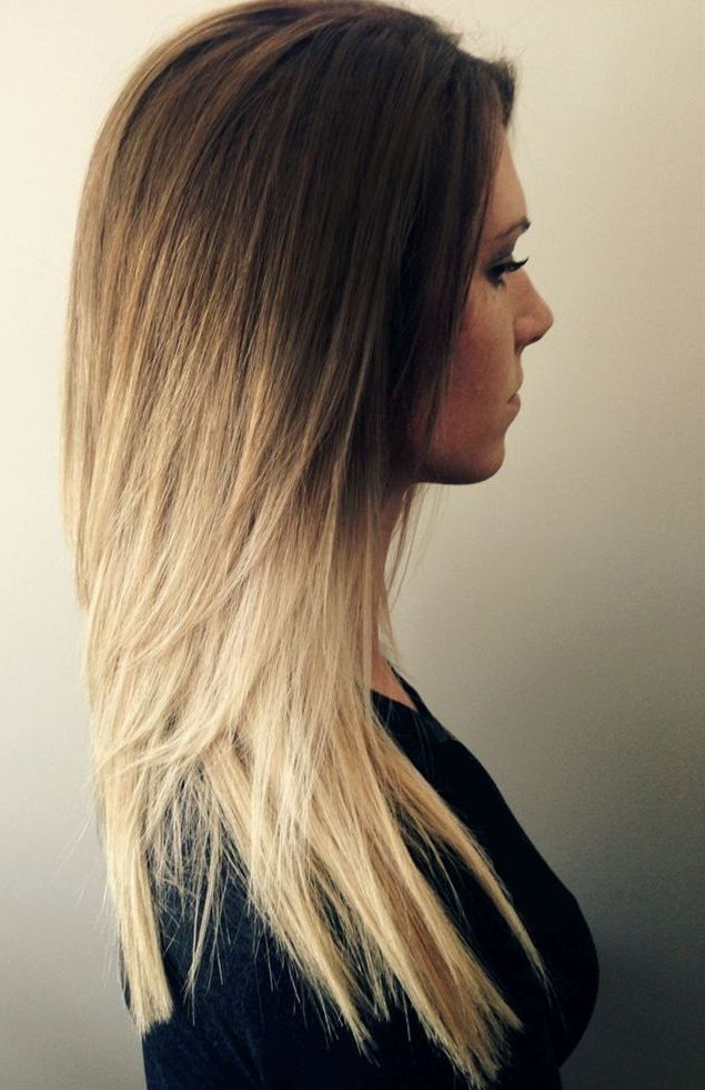 Honey golden brown to a stunning bright blonde ombre hair