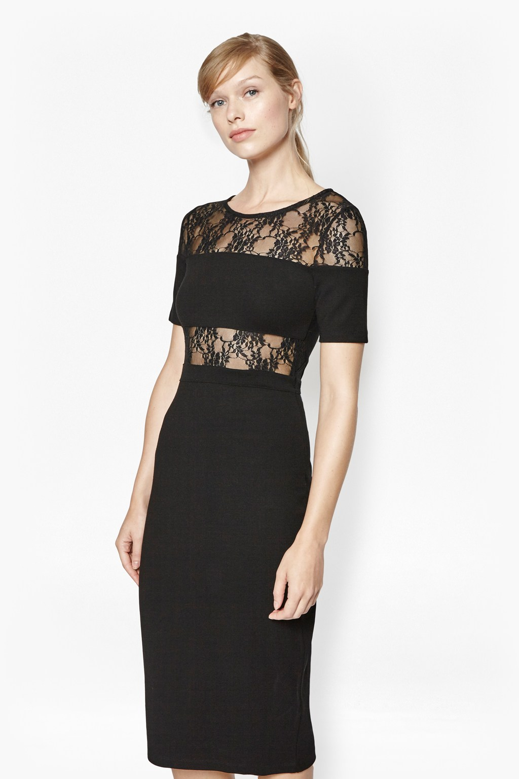 Linear Bodycon Lace Dress