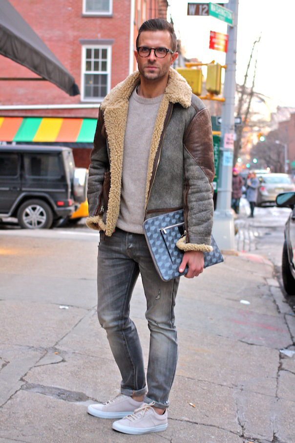 Men's Grey Shearling Jacket
