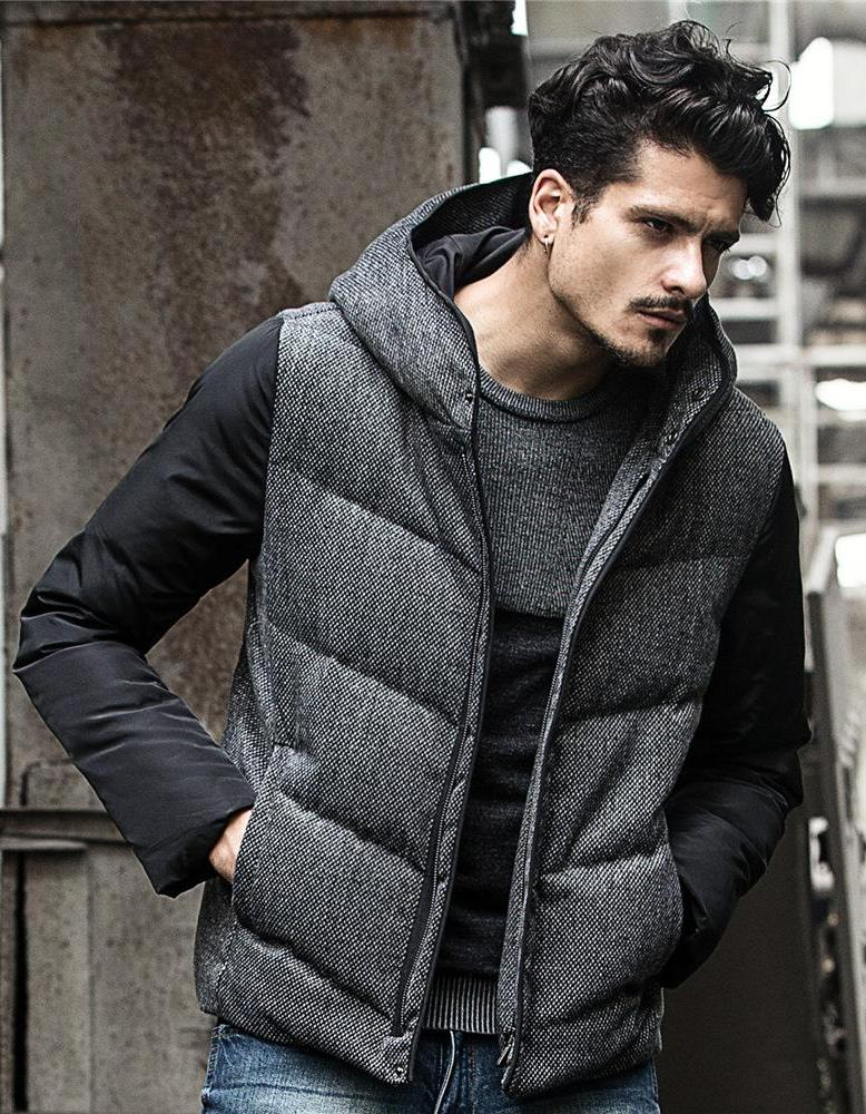 Mens Hooded Quilted Jacket Winter Style