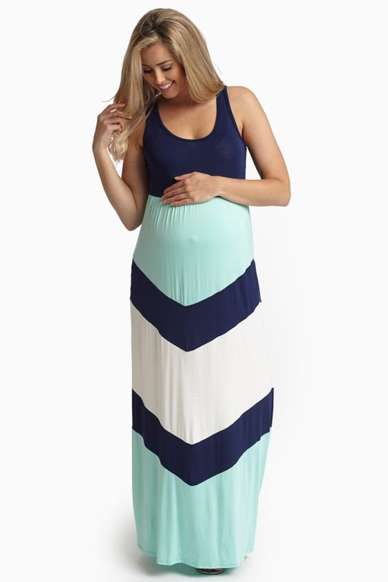 Navy Blue Chevron Printed Bottom Maternity Maxi Dress