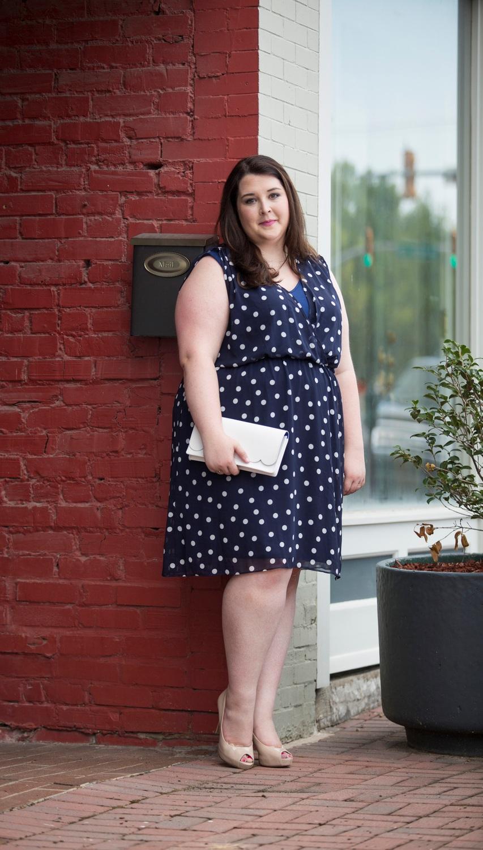 Plus Size Street Style Navy Polka Dot Dress