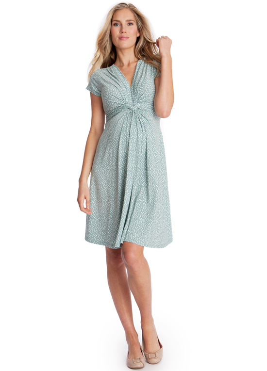Queen Bee Sage Green Polkadot Front Knot Maternity Dress