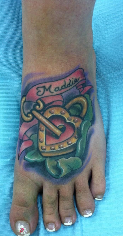 heart lock foot tattoo