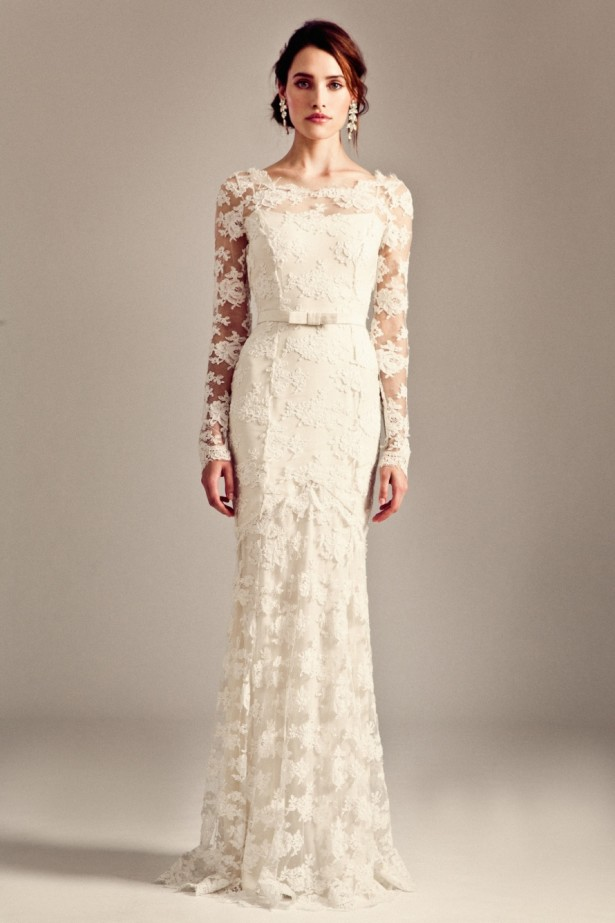 scoop-neck-sleeves-lace-cream-wedding-dresses