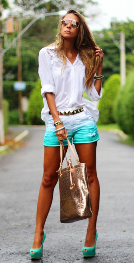 teal-to-white-ombre-shorts