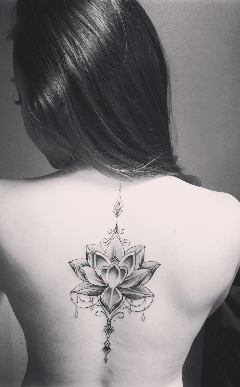 Spine-Lotus-Tattoo-Design