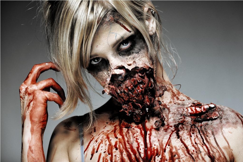 Gory Halloween Zombie Makeup