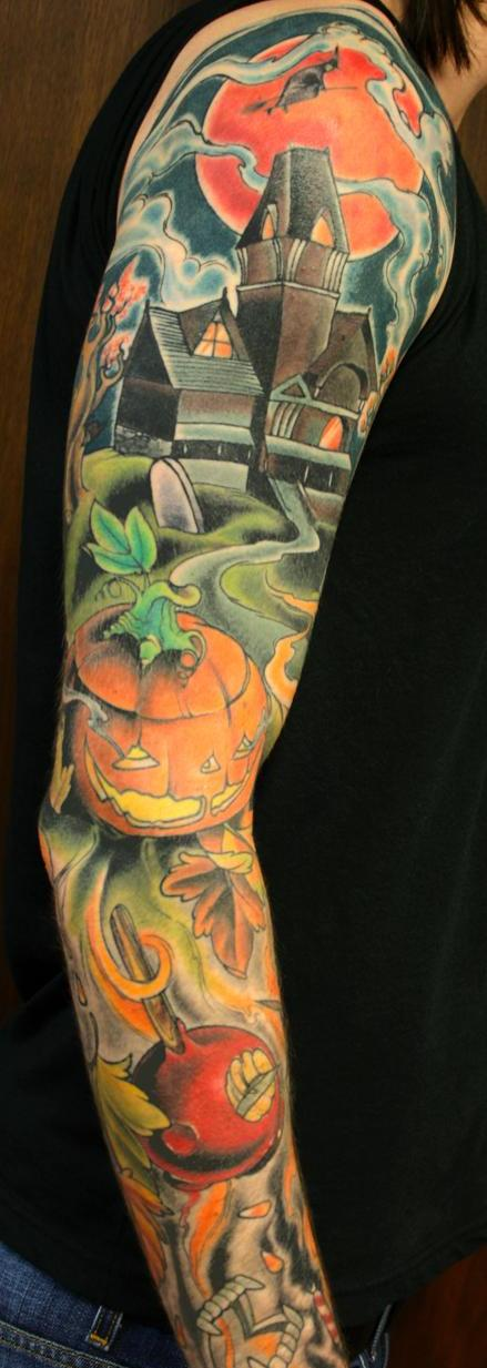 colored-halloween-tattoo-design