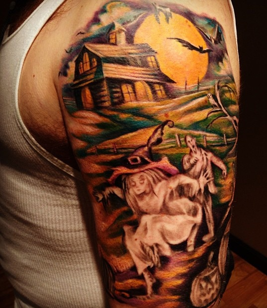 creeping-ghosts-haunted-tattoo