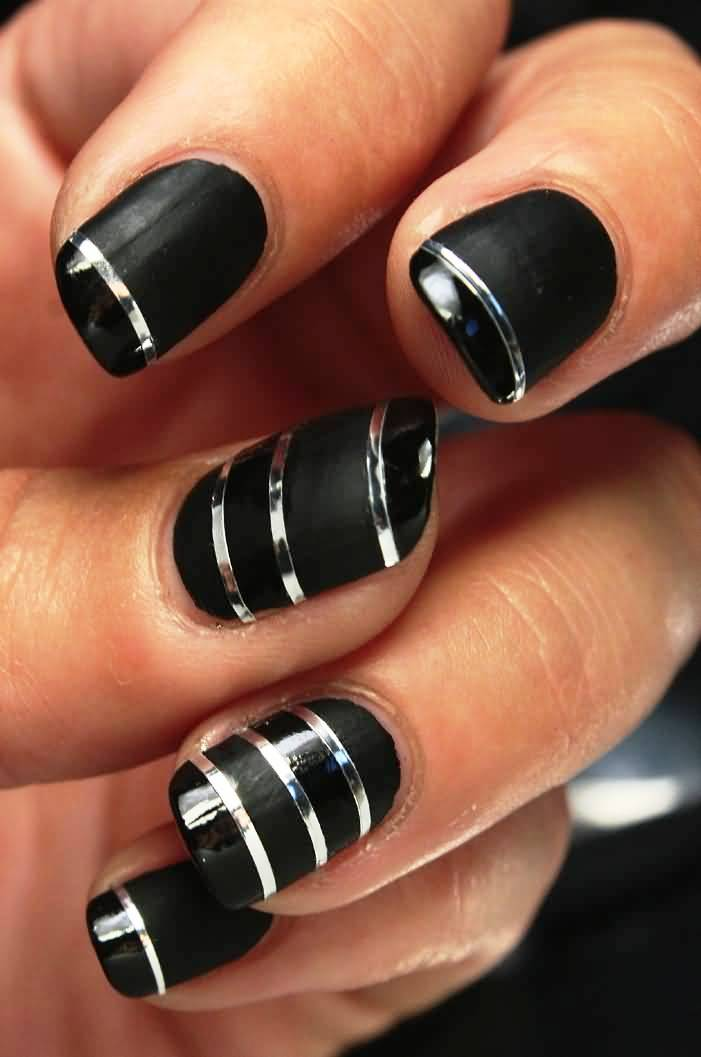 amazing-black-nails-with-silver-metallic-striping-tape-nail-art