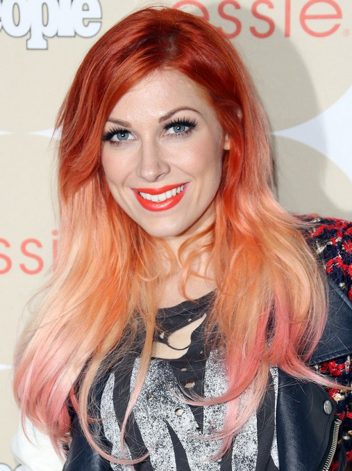 bonnie-mckee-red-long-hairstyles-ombre-straight-hairstyle
