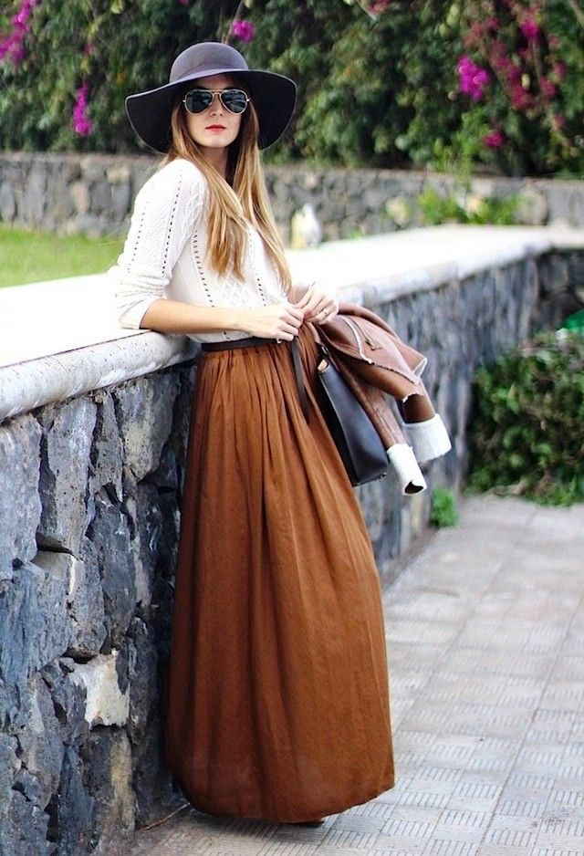 maxi-skirt-for-winter-season-with-hat