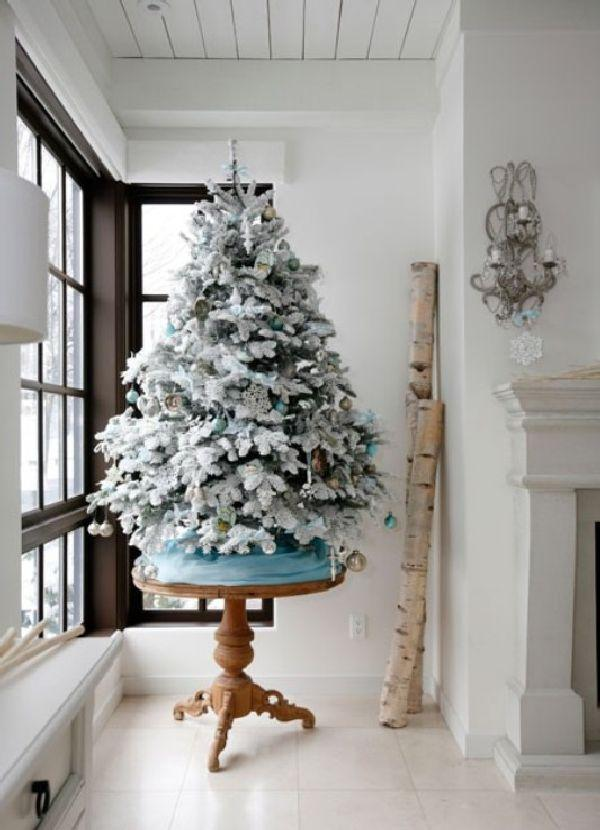 decorating a small white christmas tree - White Christmas Tree Decoration Ideas