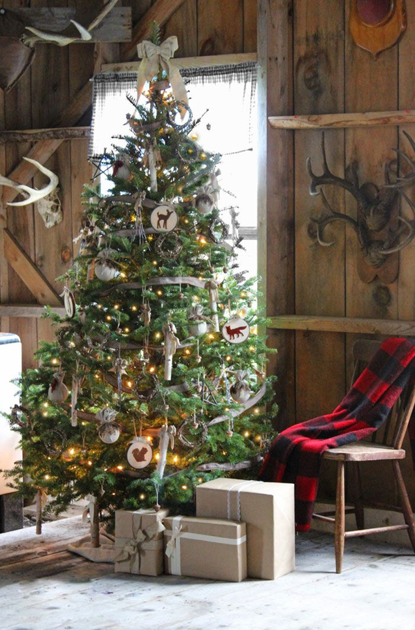 Rustic Christmas Tree Decorating Idea Design