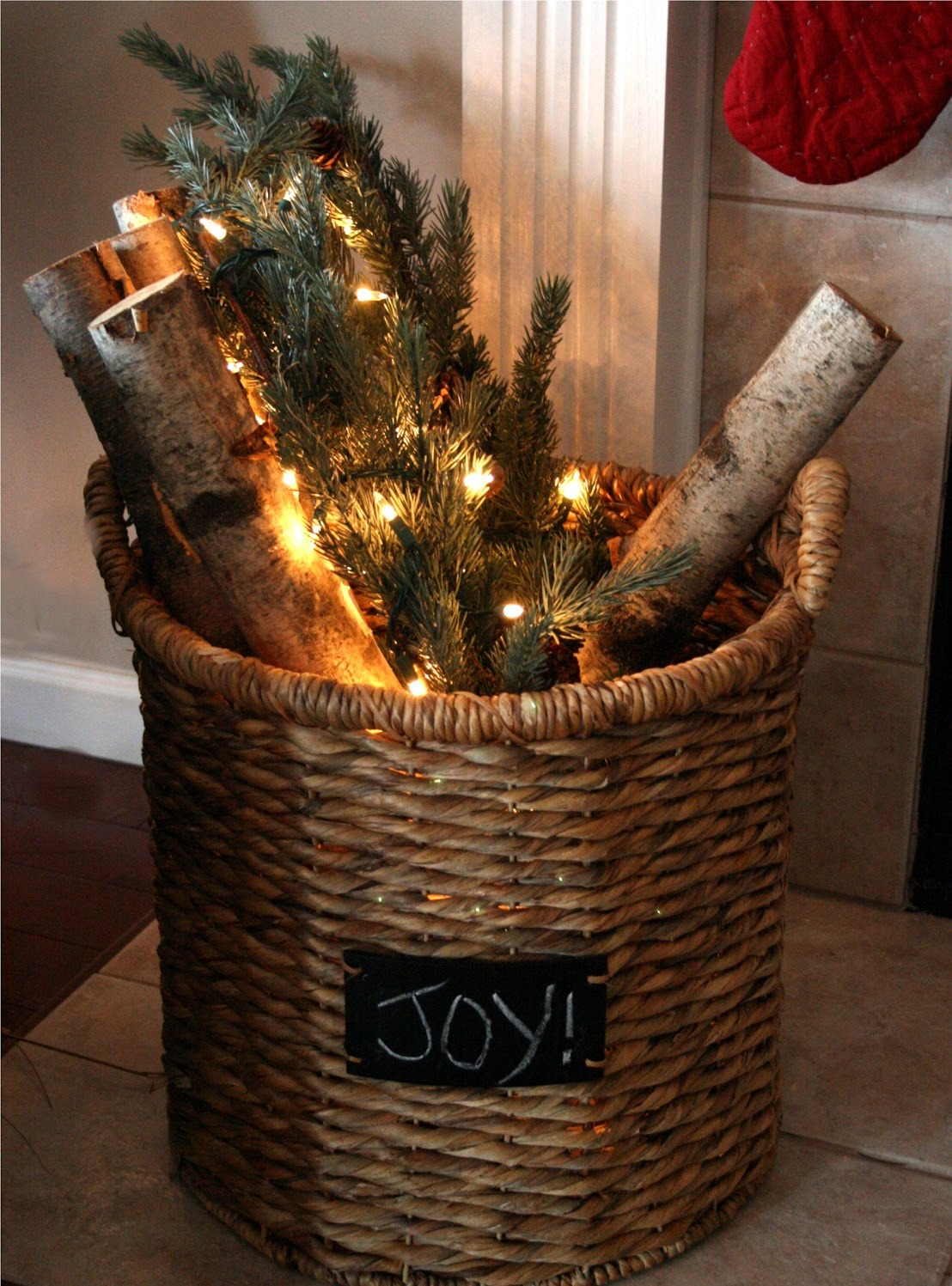 Rustic Fireplace Christmas Decor