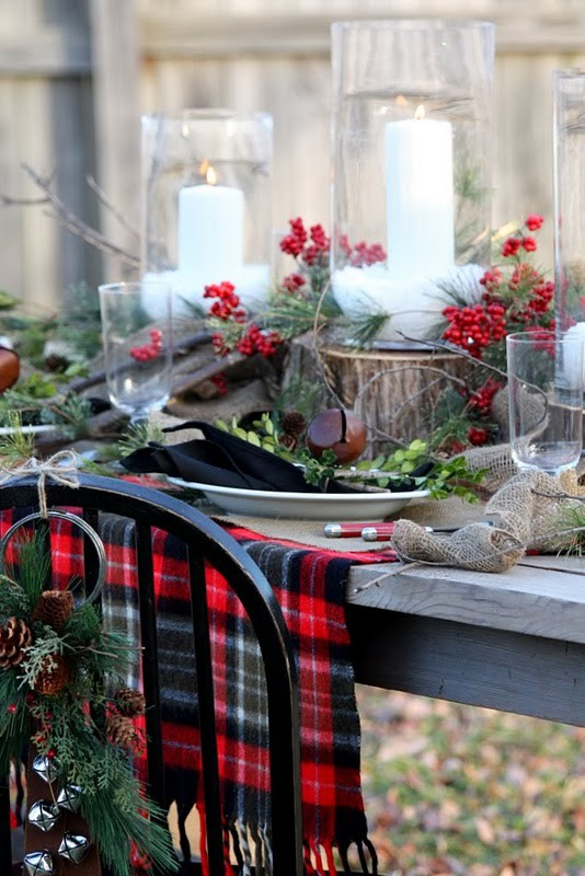 Rustic Plaid Christmas Table Setting