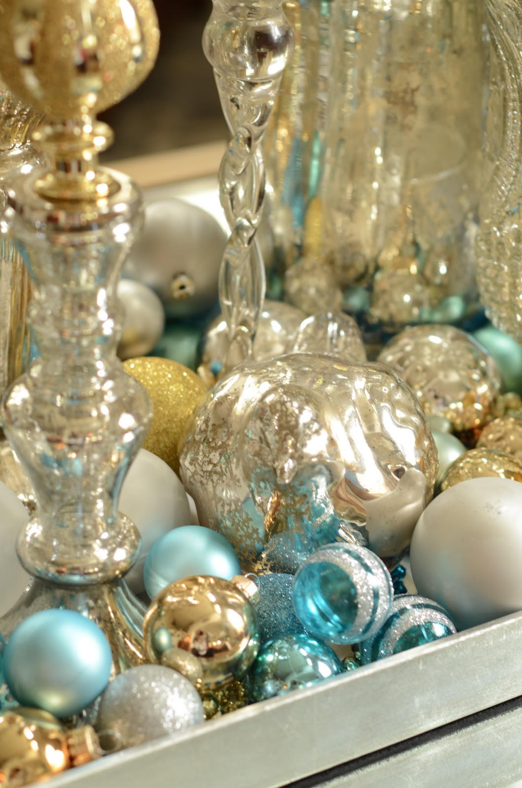 turquoise and gold christmas decorations - Teal And Silver Christmas Decorations
