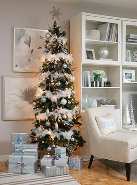 white christmas tree decorating idea