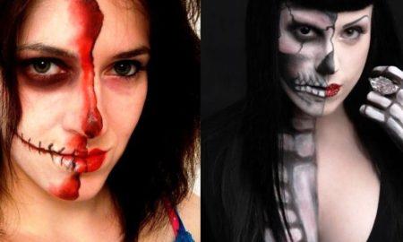 Half Face Halloween Makeup Ideas