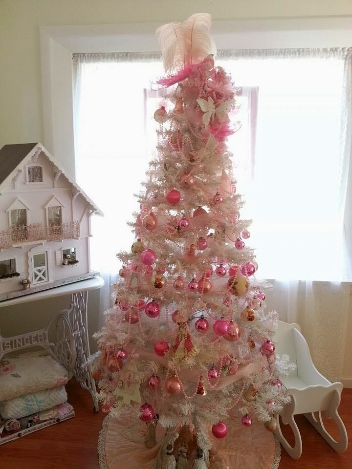 romantic shabby chic christmas trees