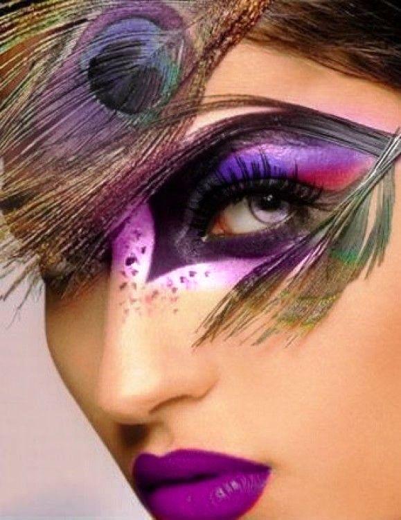 14 purple peacock halloween makeup