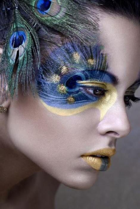 2 halloween peacock mardi gras makeup