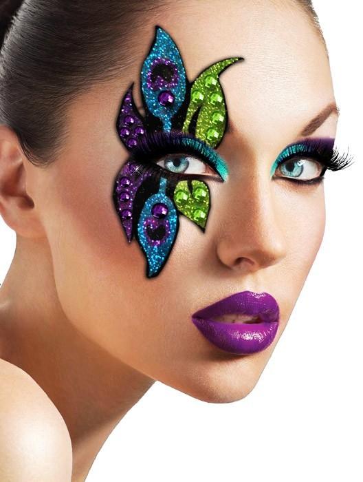 21 peacock halloween glitter makeup