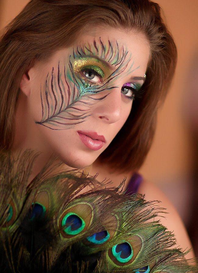 3 halloween peacock makeup face painting ideas