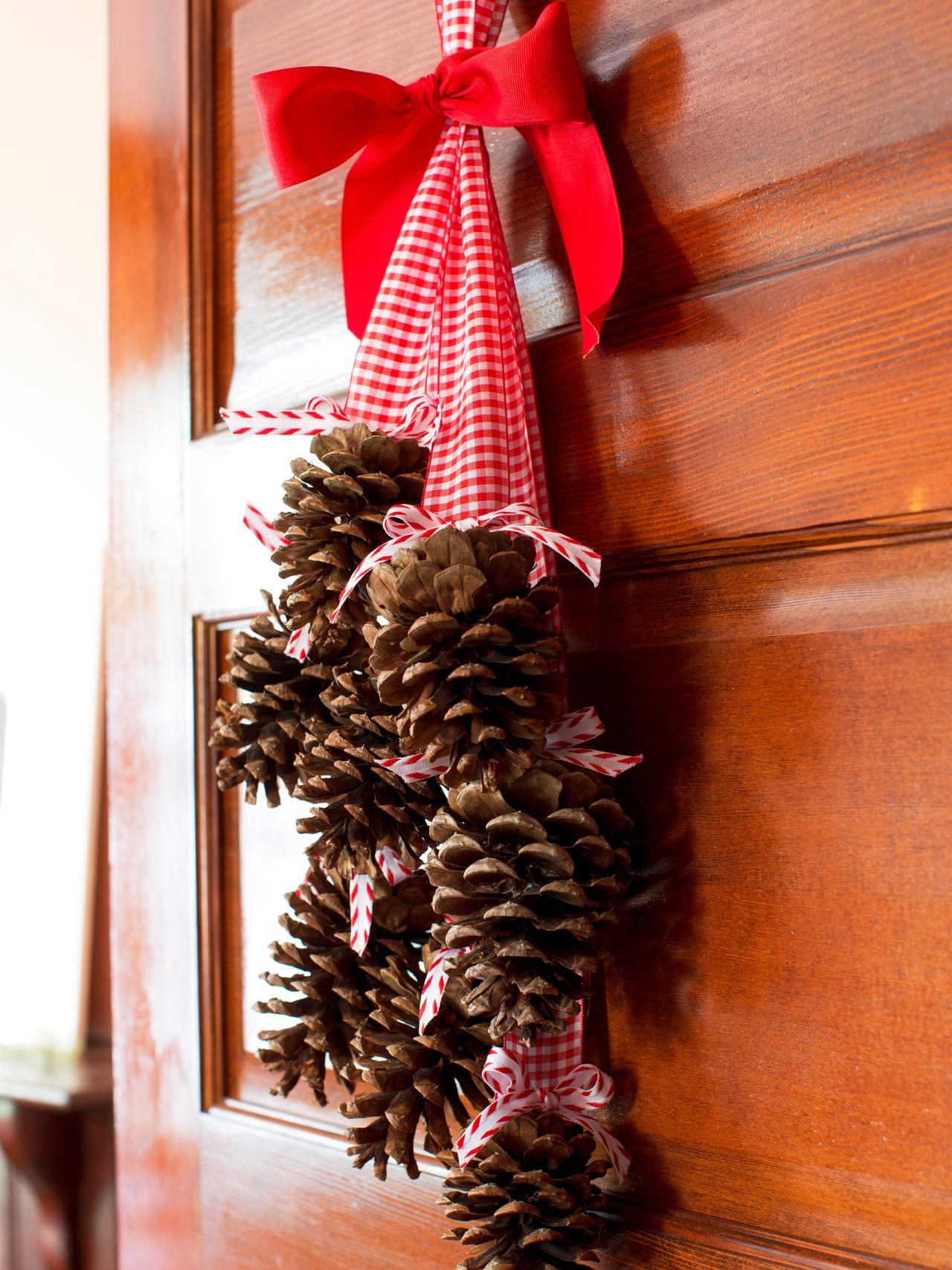 Hanging Front Door Christmas Decorations Pine Cones