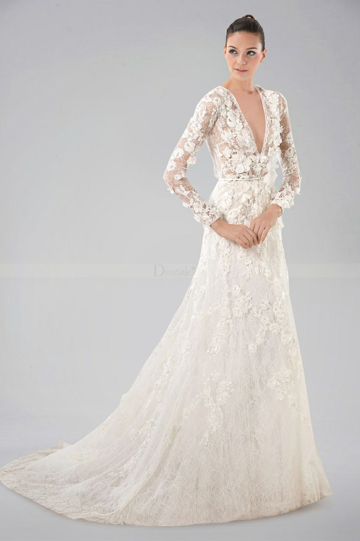 20 long sleeve wedding dress ideas for Long wedding dresses with sleeves