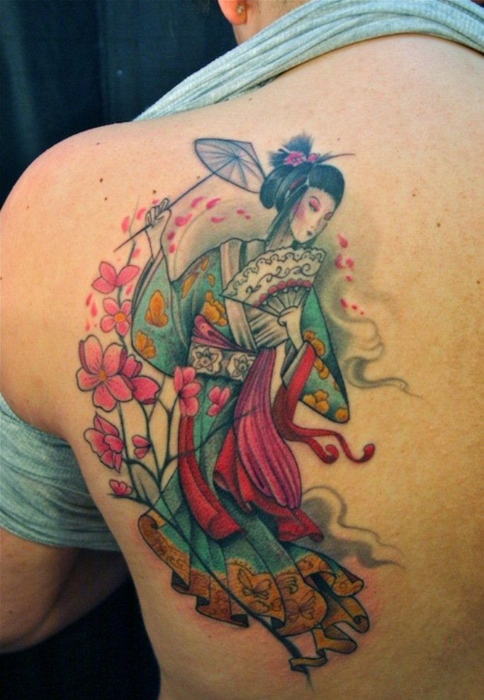 Japanese Geisha Tattoos Ideas inspiredluv (20)