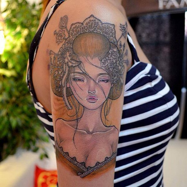 Japanese Geisha Tattoos Ideas inspiredluv (4)