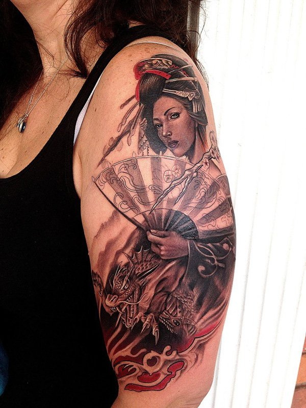 Japanese Geisha Tattoos Ideas inspiredluv (5)
