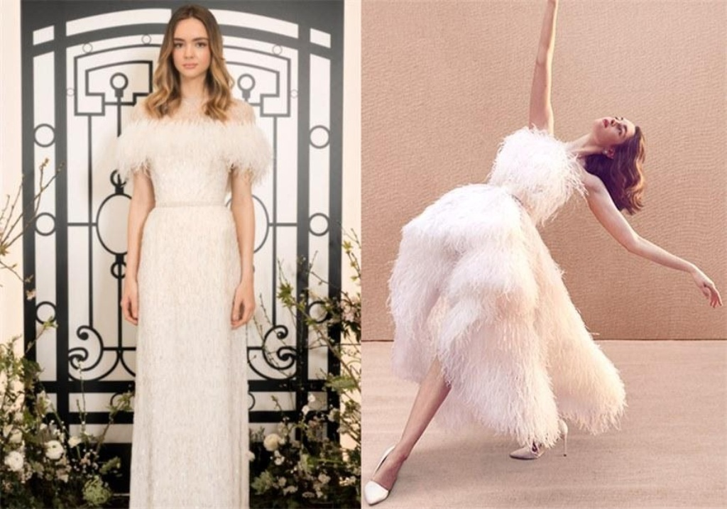 Feathery Wedding Dresses